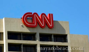 The CNN logo at the CNN Center