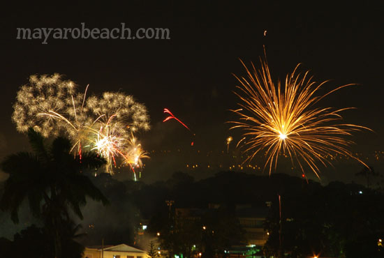Fireworks at St. Augustine, Trinidad and Tobago ring in the New Decade and New Year, 2010.